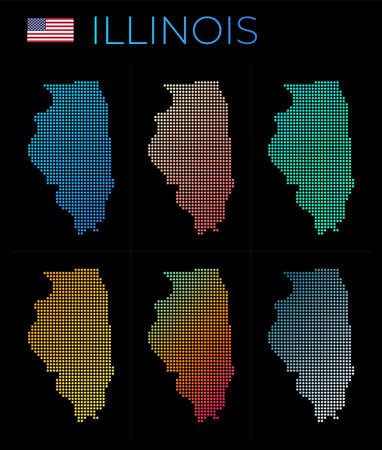 Illinois dotted map set. Map of Illinois in dotted style. Borders of the us state filled with beautiful smooth gradient circles. Appealing vector illustration.