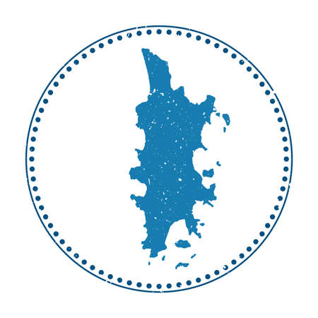 Phuket sticker. Travel rubber stamp with map of island, vector illustration. Can be used as insignia, logotype, label, sticker or badge of the Phuket. Logos