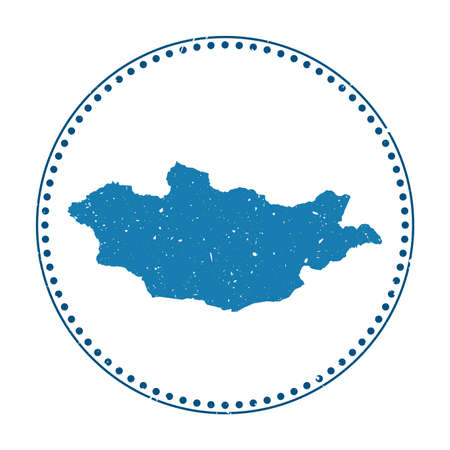 Mongolia sticker. Travel rubber stamp with map of country, vector illustration. Can be used as insignia, logotype, label, sticker or badge of the Mongolia. Logos