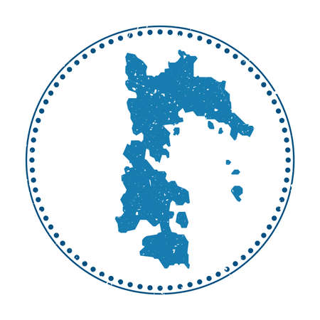 Patmos sticker. Travel rubber stamp with map of island, vector illustration. Can be used as insignia, logotype, label, sticker or badge of the Patmos.