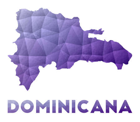Map of Dominicana. Low poly illustration of the country. Purple geometric design. Polygonal vector illustration.