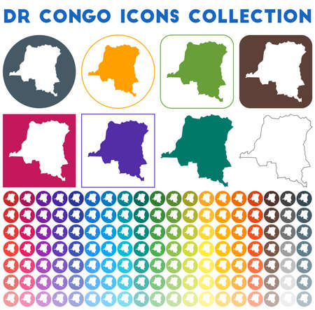 DR Congo icons collection. Bright colourful trendy map icons. Modern DR Congo badge with country map. Vector illustration.