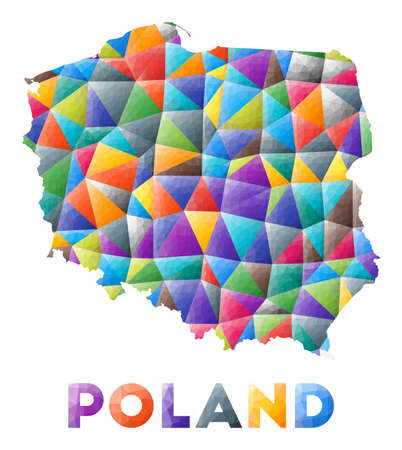 Poland - colorful low poly country shape. Multicolor geometric triangles. Modern trendy design. Vector illustration.