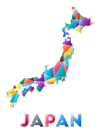 Japan - colorful low poly country shape. Multicolor geometric triangles. Modern trendy design. Vector illustration.