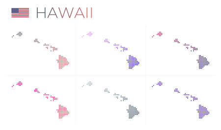 Hawaii dotted map set. Map of Hawaii in dotted style. Borders of the island filled with beautiful smooth gradient circles. Stylish vector illustration. Illustration