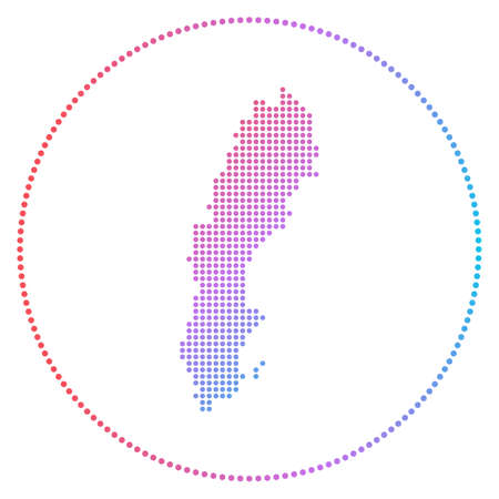 Sweden digital badge. Dotted style map of Sweden in circle. Tech icon of the country with gradiented dots. Appealing vector illustration.