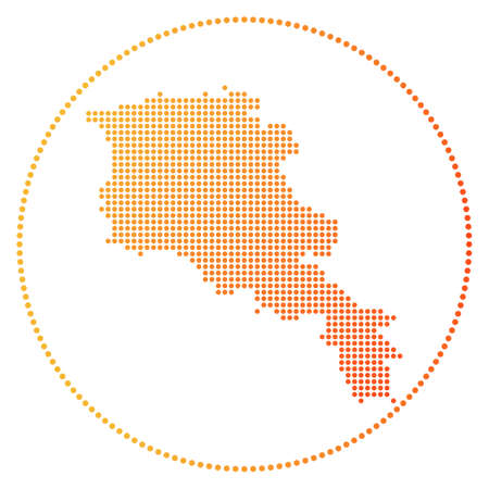 Armenia digital badge. Dotted style map of Armenia in circle. Tech icon of the country with gradiented dots. Cool vector illustration. Illustration