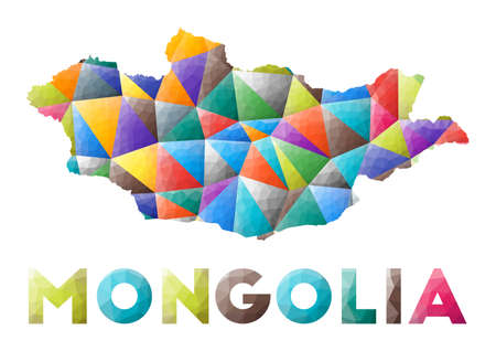 Mongolia - colorful low poly country shape. Multicolor geometric triangles. Modern trendy design. Vector illustration.
