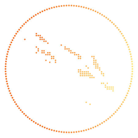 Solomon Islands digital badge. Dotted style map of Solomon Islands in circle. Tech icon of the country with gradiented dots. Elegant vector illustration.