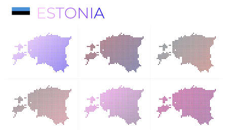 Estonia dotted map set. Map of Estonia in dotted style. Borders of the country filled with beautiful smooth gradient circles. Classy vector illustration. Illustration