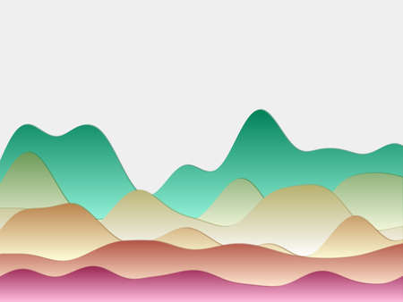Abstract mountains background. Curved layers in teal pink colors. Papercut style hills. Captivating vector illustration.