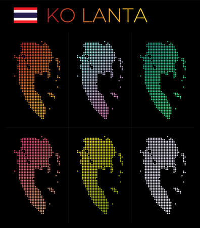 Ko Lanta dotted map set. Map of Ko Lanta in dotted style. Borders of the island filled with beautiful smooth gradient circles. Cool vector illustration.