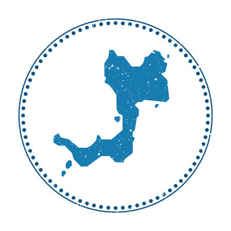 Canouan sticker. Travel rubber stamp with map of island, vector illustration. Can be used as insignia, logotype, label, sticker or badge of the Canouan.