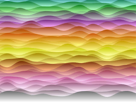Abstract curves background. Smooth curves with gradients in red blue green orange colors. Powerful vector illustration. Illustration
