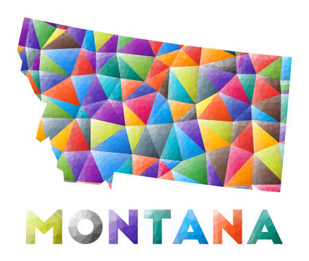 Montana - colorful low poly us state shape. Multicolor geometric triangles. Modern trendy design. Vector illustration.