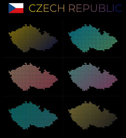 Czech Republic dotted map set. Map of Czech Republic in dotted style. Borders of the country filled with beautiful smooth gradient circles. Elegant vector illustration. Illustration