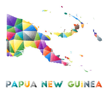 Papua New Guinea - colorful low poly country shape. Multicolor geometric triangles. Modern trendy design. Vector illustration.