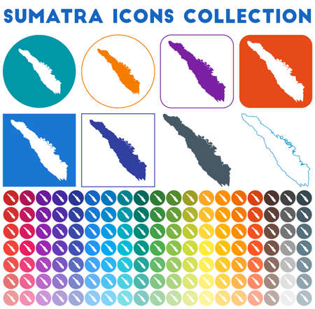 Sumatra icons collection. Bright colourful trendy map icons. Modern Sumatra badge with island map. Vector illustration.