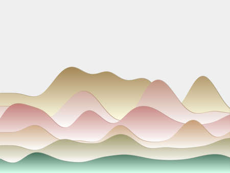 Abstract mountains background. Curved layers in soft green pink brown colors. Papercut style hills. Cool vector illustration. Illustration