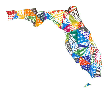 Kid style map of Florida. Hand drawn polygons in the shape of Florida. Vector illustration.