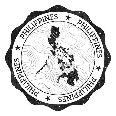 Philippines outdoor stamp. Round sticker with map of country with topographic isolines. Vector illustration. Can be used as insignia, logotype, label, sticker or badge of the Philippines.