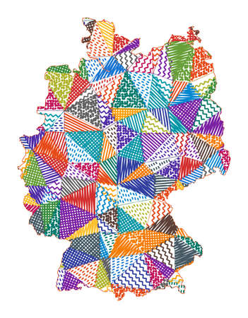 Kid style map of Germany. Hand drawn polygons in the shape of Germany. Vector illustration. Illustration
