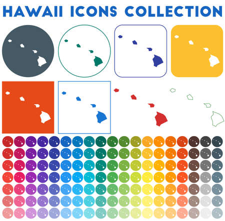 Hawaii icons collection. Bright colourful trendy map icons. Modern Hawaii badge with us state map. Vector illustration.
