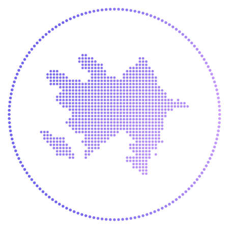 Azerbaijan digital badge. Dotted style map of Azerbaijan in circle. Tech icon of the country with gradiented dots. Powerful vector illustration. Illustration