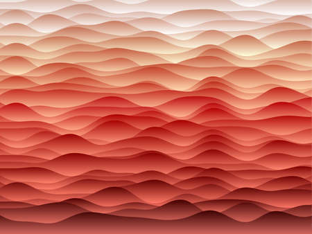 Abstract curves background. Smooth curves with gradients in red colors. Neat vector illustration.