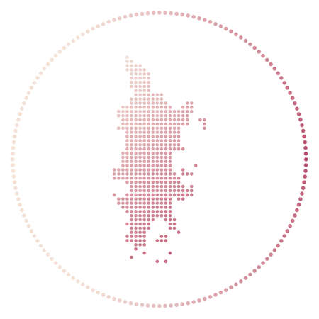 Phuket digital badge. Dotted style map of Phuket in circle. Tech icon of the island with gradiented dots. Superb vector illustration.