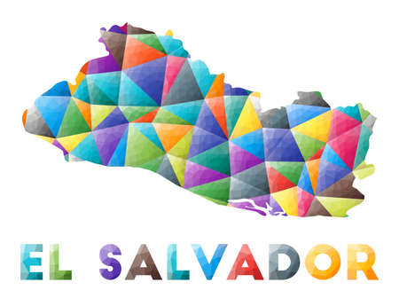 Republic of El Salvador - colorful low poly country shape. Multicolor geometric triangles. Modern trendy design. Vector illustration.