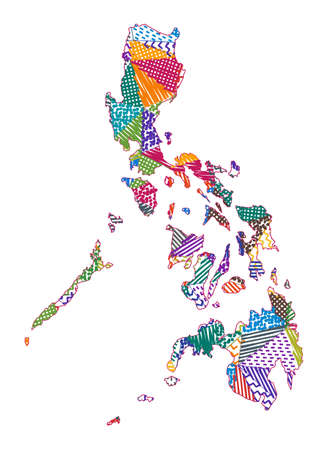 Kid style map of Philippines. Hand drawn polygons in the shape of Philippines. Vector illustration. Illustration
