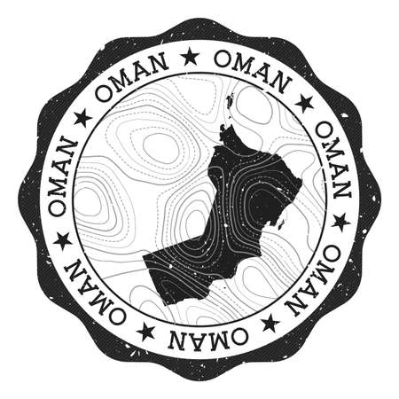Oman outdoor stamp. Round sticker with map of country with topographic isolines. Vector illustration. Can be used as insignia, logotype, label, sticker or badge of the Oman. Illustration
