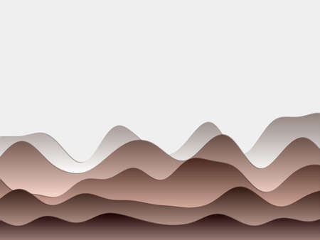 Abstract mountains background. Curved layers in brown colors. Papercut style hills. Authentic vector illustration. Illustration