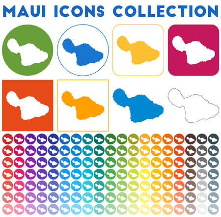 Maui icons collection. Bright colourful trendy map icons. Modern Maui badge with island map. Vector illustration.
