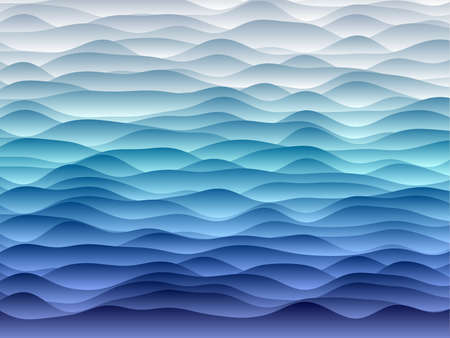 Abstract curves background. Smooth curves with gradients in blue colors. Creative vector illustration.