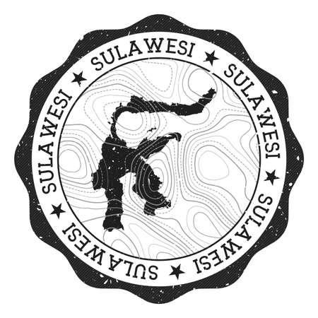 Sulawesi outdoor stamp. Round sticker with map of island with topographic isolines. Vector illustration. Can be used as insignia, logotype, label, sticker or badge of the Sulawesi.