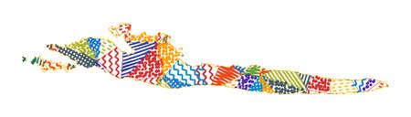 Kid style map of Hvar. Hand drawn polygons in the shape of Hvar. Vector illustration. Illustration
