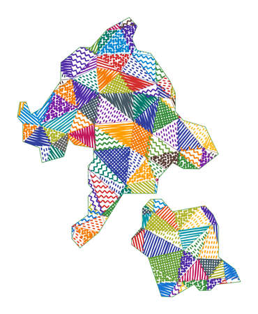Kid style map of Aka Island. Hand drawn polygons in the shape of Aka Island. Vector illustration.
