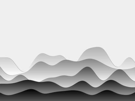 Abstract mountains background. Curved layers in grey colors. Papercut style hills. Superb vector illustration. Illustration