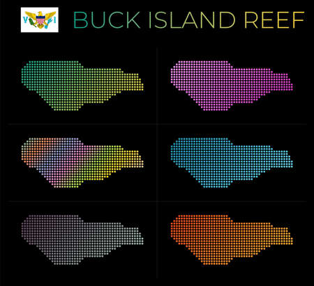 Buck Island Reef dotted map set. Map of Buck Island Reef in dotted style. Borders of the island filled with beautiful smooth gradient circles. Astonishing vector illustration.