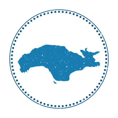 Samos sticker. Travel rubber stamp with map of island, vector illustration. Can be used as insignia, logotype, label, sticker or badge of the Samos.