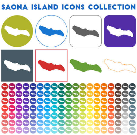 Saona Island icons collection. Bright colourful trendy map icons. Modern Saona Island badge with island map. Vector illustration.