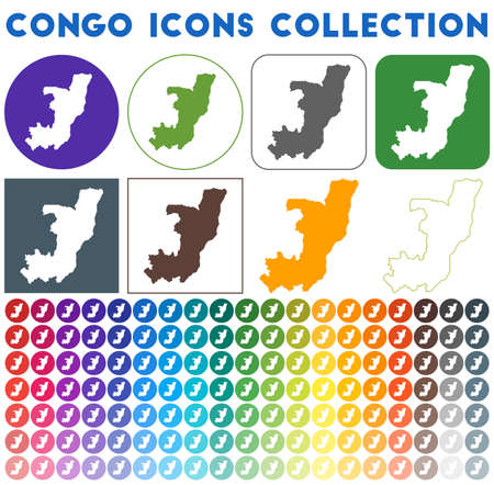 Congo icons collection. Bright colourful trendy map icons. Modern Congo badge with country map. Vector illustration.