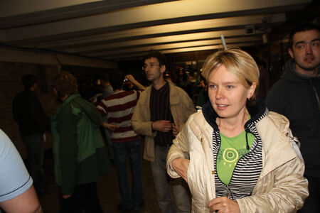 ecologists: MOSCOW, RUSSIA - may 6, 2012  the leader of the Russian ecologists Yevgeniya Chirikova been in the subway, where protesters drove to the police, the shares of Russian opposition for fair elections, may 6, 2012, Moscow, Russia