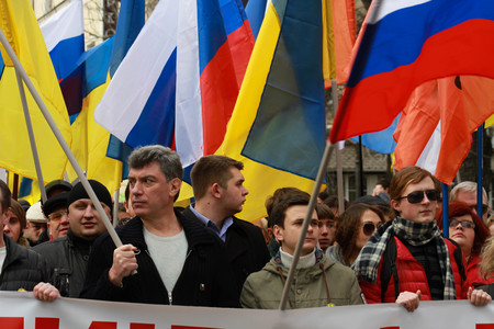 MOSCOW, RUSSIA - March 15, 2014: Boris Nemtsov and Ilya Yashin on the peace March in support of Ukraine, the March of Russian opposition against war with Ukraine