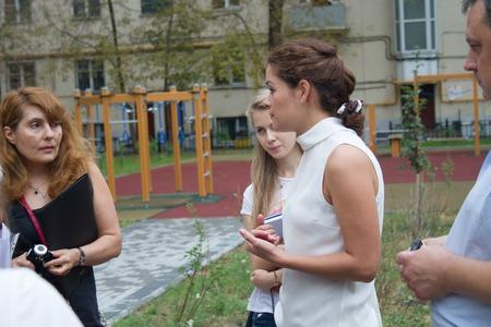 duma: Russian politician Maria Gaidar at the meeting with residents