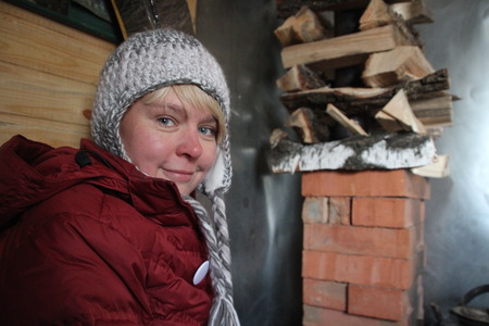 ecologists: Khimki, Russia - February 1, 2012. Policies Evgeniya Chirikova in the trailer ecologists, eco-camp in the Khimki forest