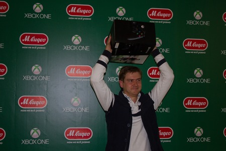 Moscow, Russia - September 25, 2014. First buyer XBOX ONE in Russia, the store MVIDEO. At 21.00 in Russia started console selling new consoleconsole