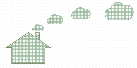 House and clouds from the chimney. Cute Baby Style Artwork. Vector